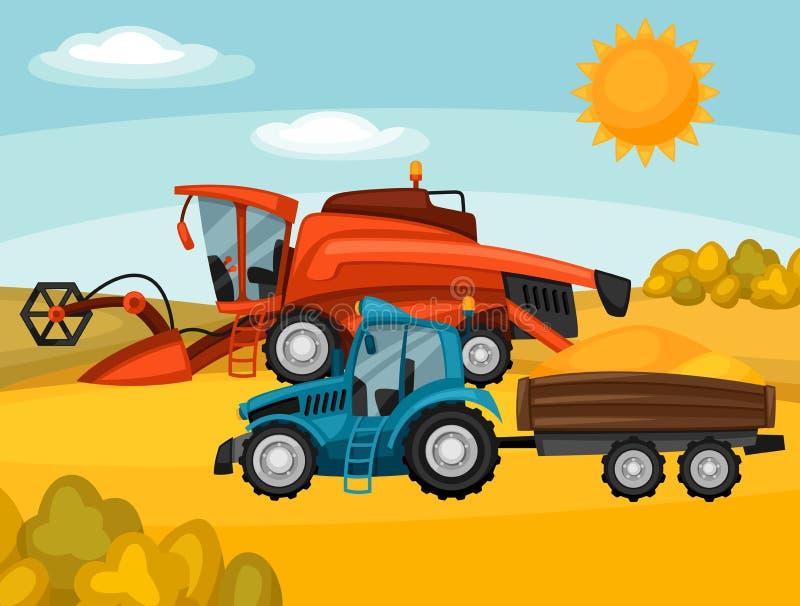 Syndykata ciągnik na pszenicznym polu i żniwiarz Rolniczego ilustraci gospodarstwa rolnego wiejski krajobraz royalty ilustracja