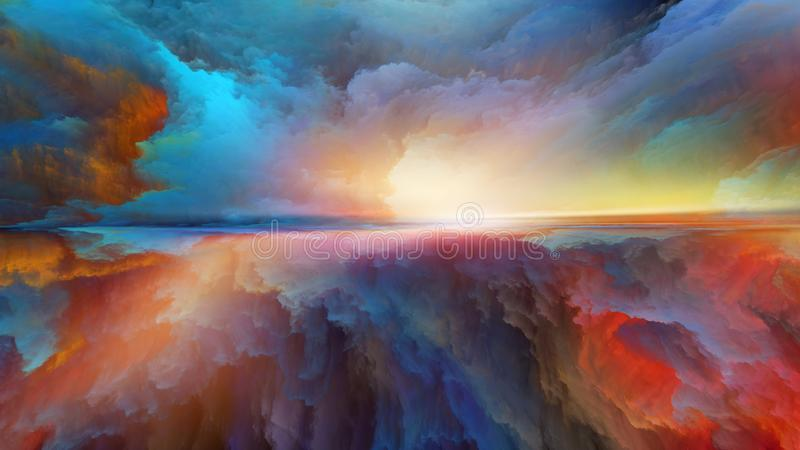 Synergier av det abstrakta landskapet royaltyfri illustrationer