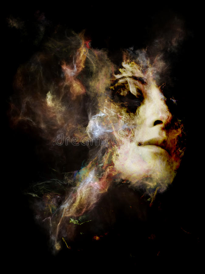 Synergies of Your Shadow. Surreal Dust Portrait series. Arrangement of fractal smoke and female portrait on the subject of spirituality, imagination and art stock photography