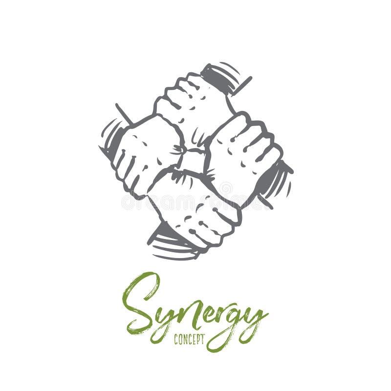 Synergisme, zaken, gemeenschap, team, samen concept Hand getrokken geïsoleerde vector stock illustratie