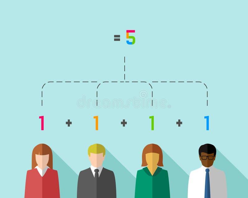 Synergismeconcept met multiculturele bedrijfsmensen royalty-vrije illustratie