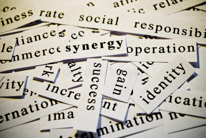 Synergy. Cut-out of words related with business activity stock photo