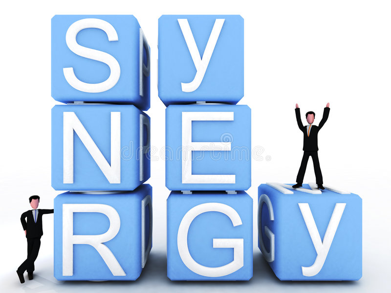 Synergy. Third image of a 3 series in which two executives face failure and they overcome the situation throughout team work. all represented by the words form royalty free illustration