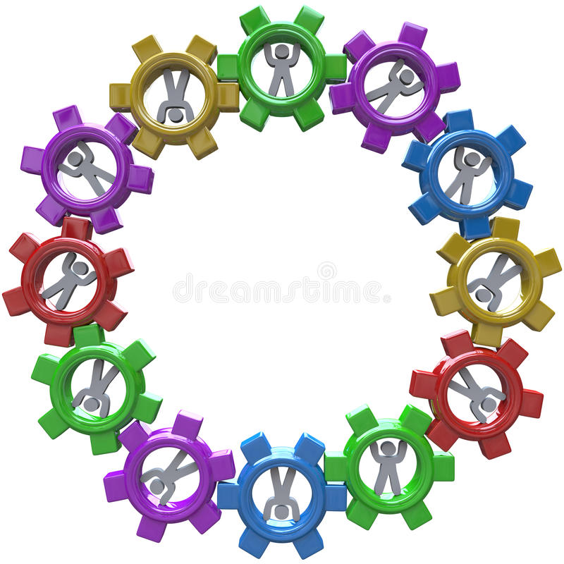 Synergy - Circle Of People Turning In Gears Stock Image