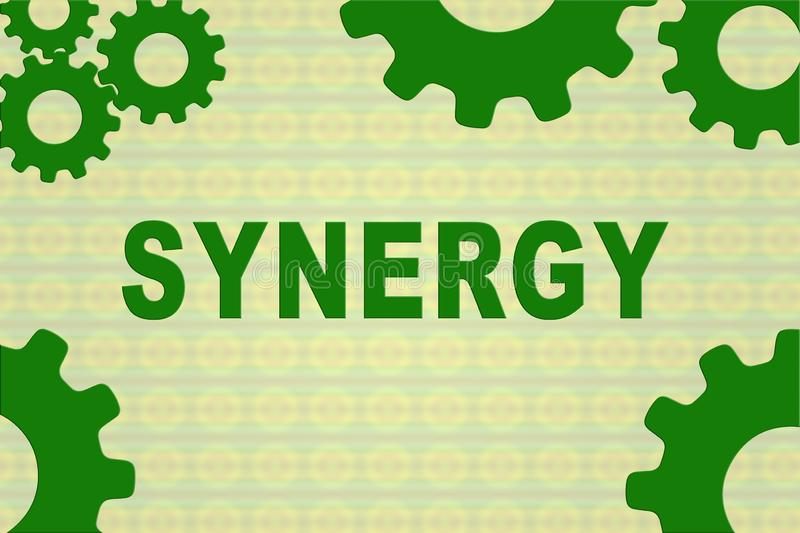 SYNERGY - collaboration concept. SYNERGY sign concept illustration with green gear wheel figures on yellow background, abstract, business, collaborate royalty free illustration