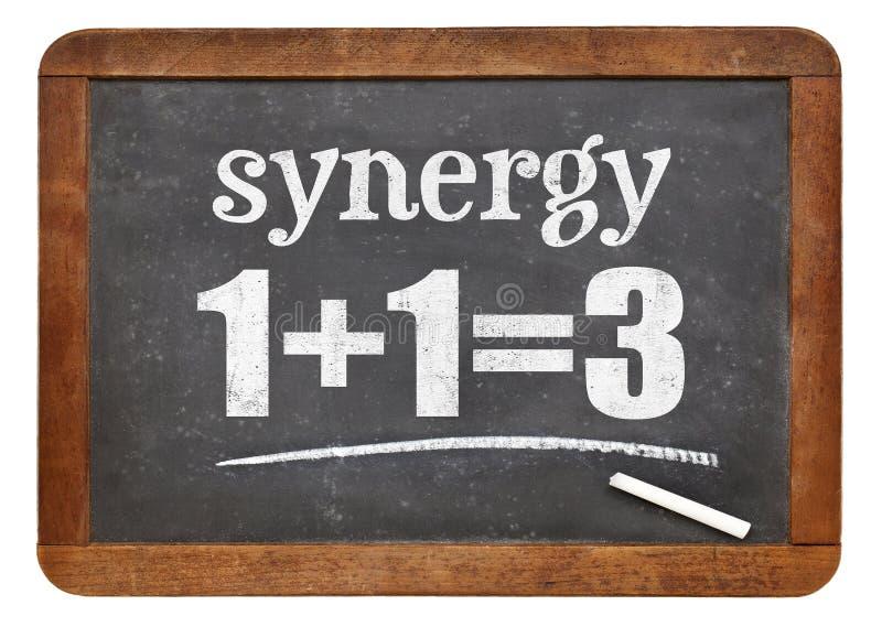 Synergy concept on blackboard royalty free stock photos
