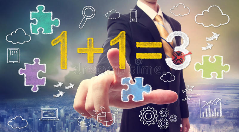Synergy concept 1+1=3 royalty free stock images