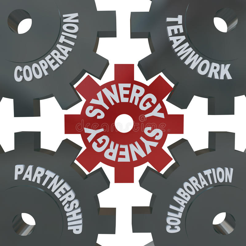 Synergy Gears - Teamwork in Action. Several cogwheel gears turning together, reading Synergy, Teamwork, Partnership, Collaboration and Cooperation stock illustration