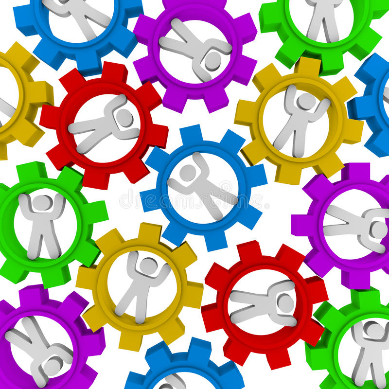 Synergy - Many People Turning in Gears. Many people turning in different colored gears symbolizing teamwork and synergy stock illustration