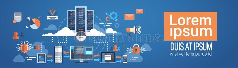 Synkroniserar databas för den varande värd serveren för anslutning för datorhallmolndatoren teknologi stock illustrationer