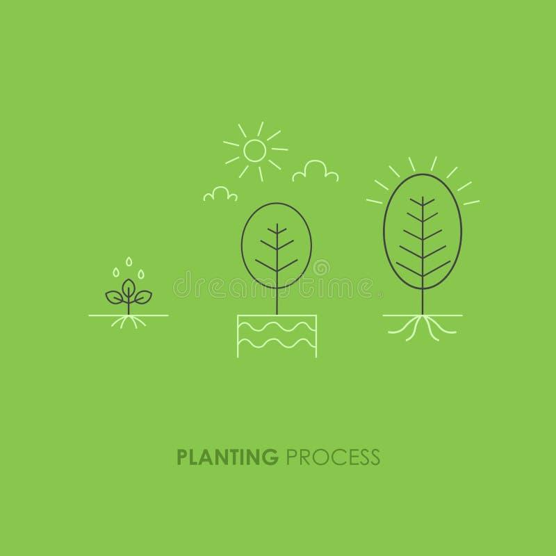 Synkroniserar växttillväxt Spira i jordningen som göras i den moderiktiga linjen stil royaltyfri illustrationer