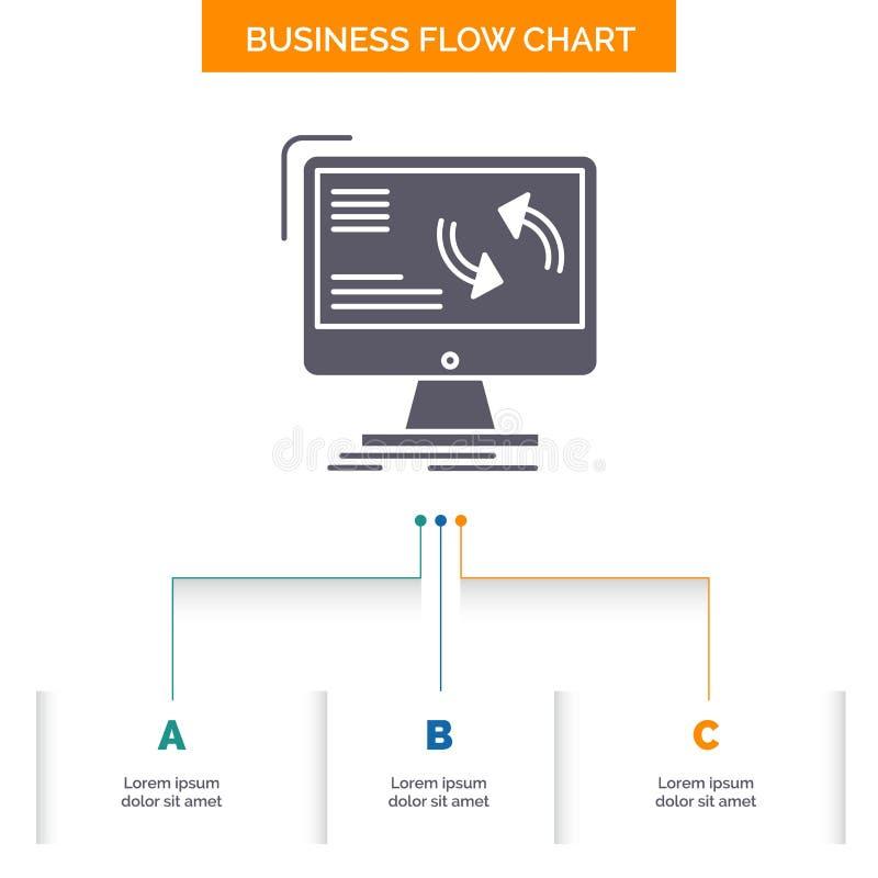 synkronisering synkronisering, information, data, design för diagram för flöde för datoraffär med 3 moment r vektor illustrationer