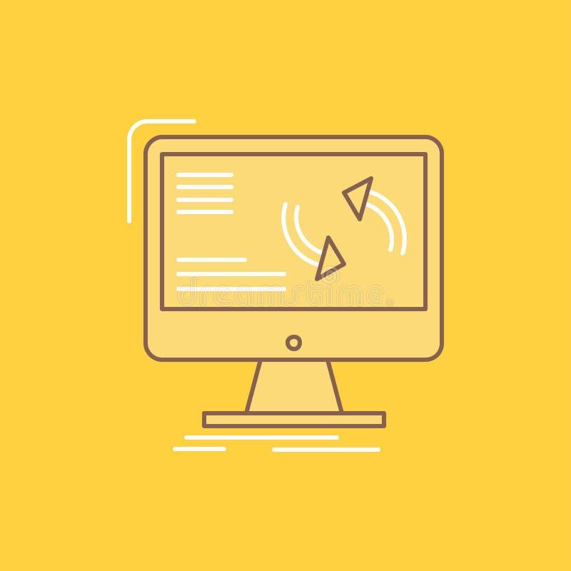 synkronisering synkronisering, information, data, plan linje för dator fyllde symbolen H?rlig logoknapp ?ver gul bakgrund f?r UI  royaltyfri illustrationer