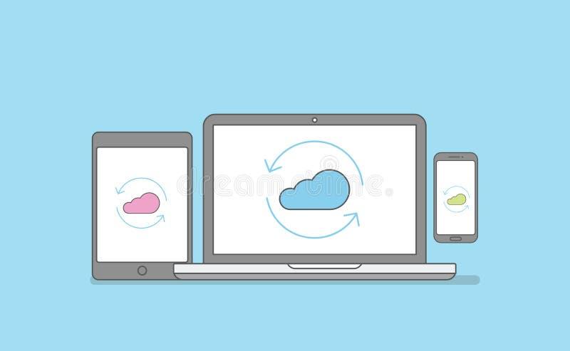 Synkroniseringsteknologi mellan den mobila plattformen inkluderar den bärbar datorminnestavlan och smartphonen royaltyfri illustrationer