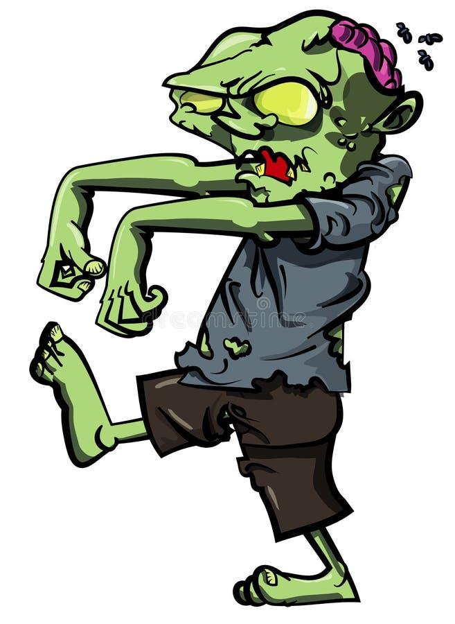 synlig förfölja zombie för hjärna tecknad film stock illustrationer