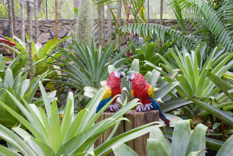 Syntetyczna papuga jako ogrodowa dekoracja w Nong Nooch tropikalnym ogródzie w Pattaya, Tajlandia fotografia royalty free