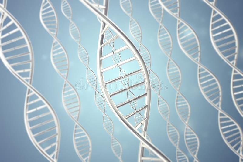 Syntetyczna, sztuczna DNA molekuła pojęcie sztuczna inteligencja świadczenia 3 d fotografia stock