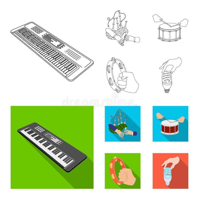 Syntetyk melodie, kobze Szkockie i inna sieci ikona w konturze, mieszkanie styl bębni, bęben rolka, tambourine w ręce royalty ilustracja
