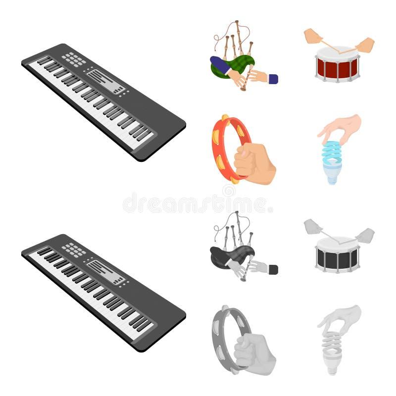 Syntetyk melodie, kobze Szkockie i inna sieci ikona w kreskówce, monochromu styl bęben, bęben rolka, tambourine wewnątrz royalty ilustracja