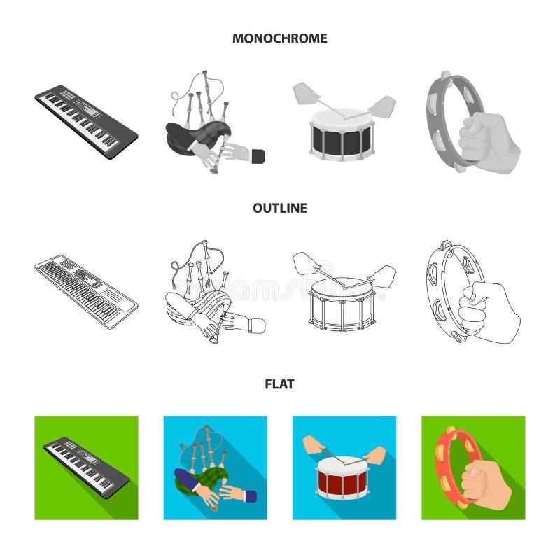 Syntetyk melodie, kobze Szkockie i inna sieci ikona w mieszkaniu, kontur, monochromu styl bęben, bęben rolka, tambourine royalty ilustracja
