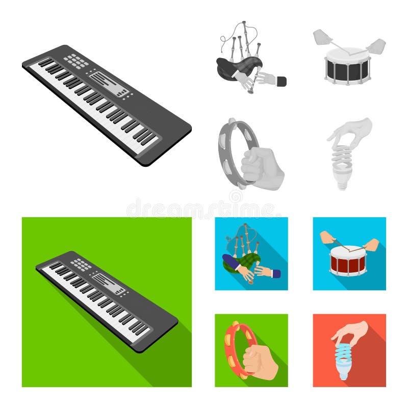 Syntetyk melodie, kobze Szkockie i inna sieci ikona w monochromu, mieszkanie styl bębni, bęben rolka, tambourine w ręce ilustracja wektor