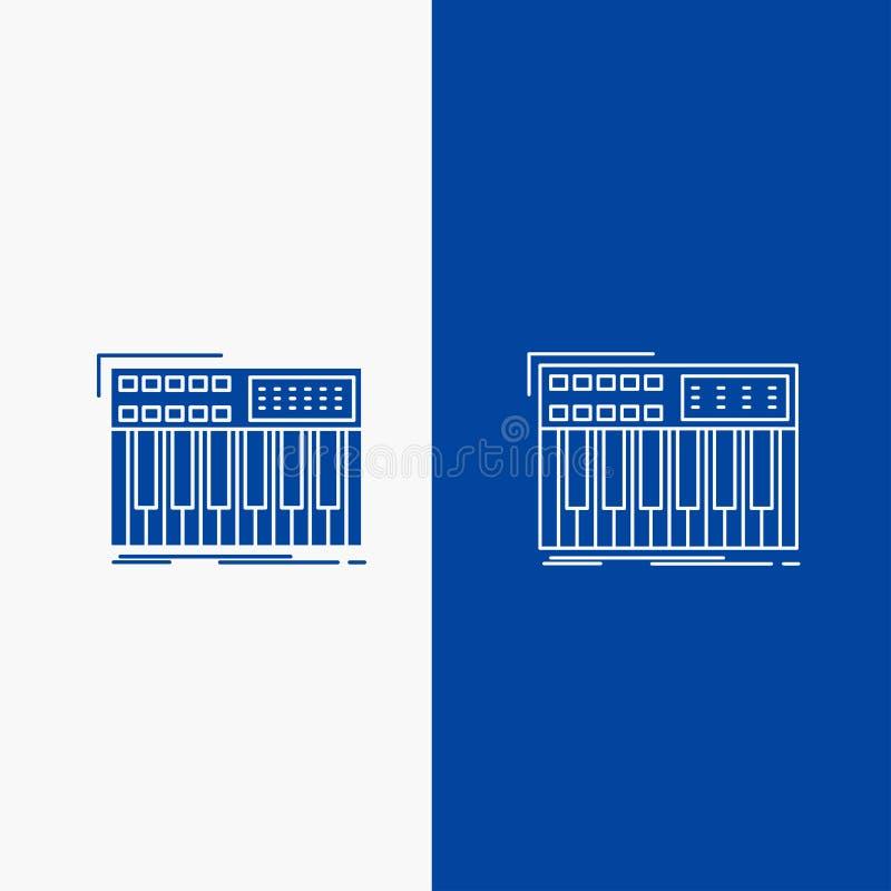 synth, πληκτρολόγιο, Midi, συνθέτης, γραμμή συνθετών και κουμπί Ιστού Glyph στο μπλε κάθετο έμβλημα χρώματος για UI και UX, ιστοχ ελεύθερη απεικόνιση δικαιώματος