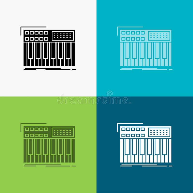 synth, πληκτρολόγιο, Midi, συνθέτης, εικονίδιο συνθετών πέρα από το διάφορο υπόβαθρο glyph σχέδιο ύφους, που σχεδιάζεται για τον  απεικόνιση αποθεμάτων