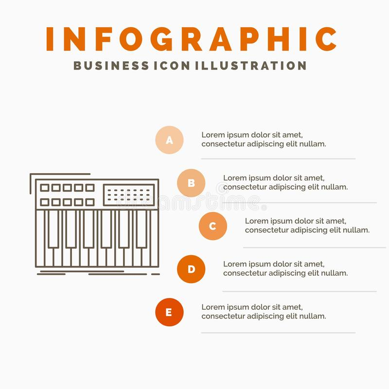 synth, πληκτρολόγιο, Midi, συνθέτης, πρότυπο Infographics συνθετών για τον ιστοχώρο και παρουσίαση Γκρίζο εικονίδιο γραμμών με το διανυσματική απεικόνιση