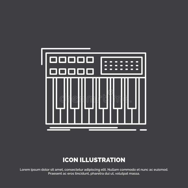 synth, klawiatura, Midi, synthesiser, syntetyk ikona Kreskowy wektorowy symbol dla UI, UX, strona internetowa i wisz?cej ozdoby z ilustracja wektor