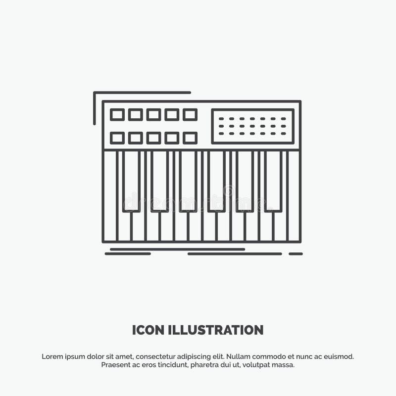 synth, klawiatura, Midi, synthesiser, syntetyk ikona Kreskowy wektorowy szary symbol dla UI, UX, strona internetowa i wisz?cej oz ilustracja wektor