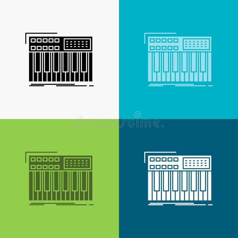 synth, klawiatura, Midi, synthesiser, syntetyk ikona Nad Różnorodnym tłem glifu stylu projekt, projektuj?cy dla sieci i app 10 ep ilustracji