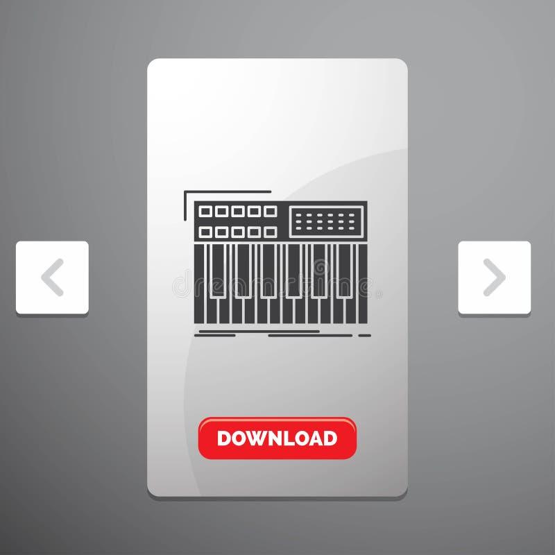synth, klawiatura, Midi, synthesiser, syntetyka glifu ikona w biby paginacji suwaka projekcie & Czerwony ściąganie guzik, ilustracja wektor
