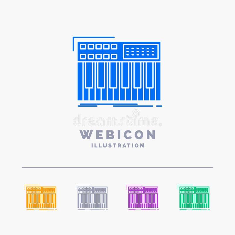 synth, klawiatura, Midi, synthesiser, syntetyka 5 koloru glifu sieci ikony szablon odizolowywający na bielu r?wnie? zwr?ci? corel ilustracji