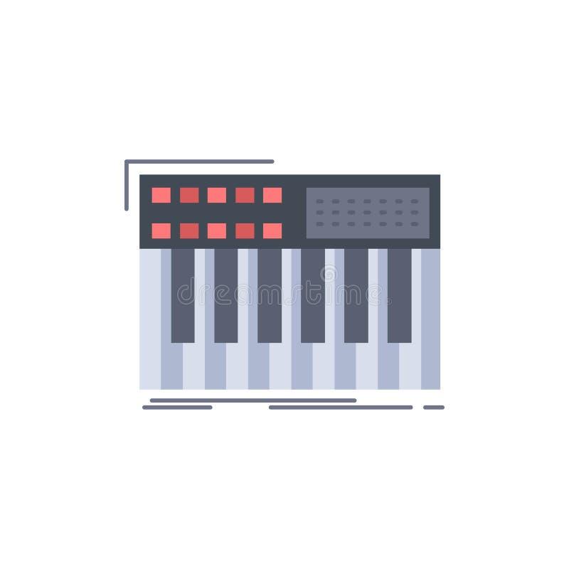 synth, klawiatura, Midi, synthesiser, syntetyka koloru ikony Płaski wektor ilustracji