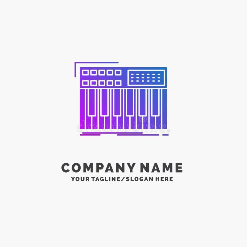 synth, klawiatura, Midi, synthesiser, syntetyka logo Purpurowy Biznesowy szablon Miejsce dla Tagline ilustracja wektor