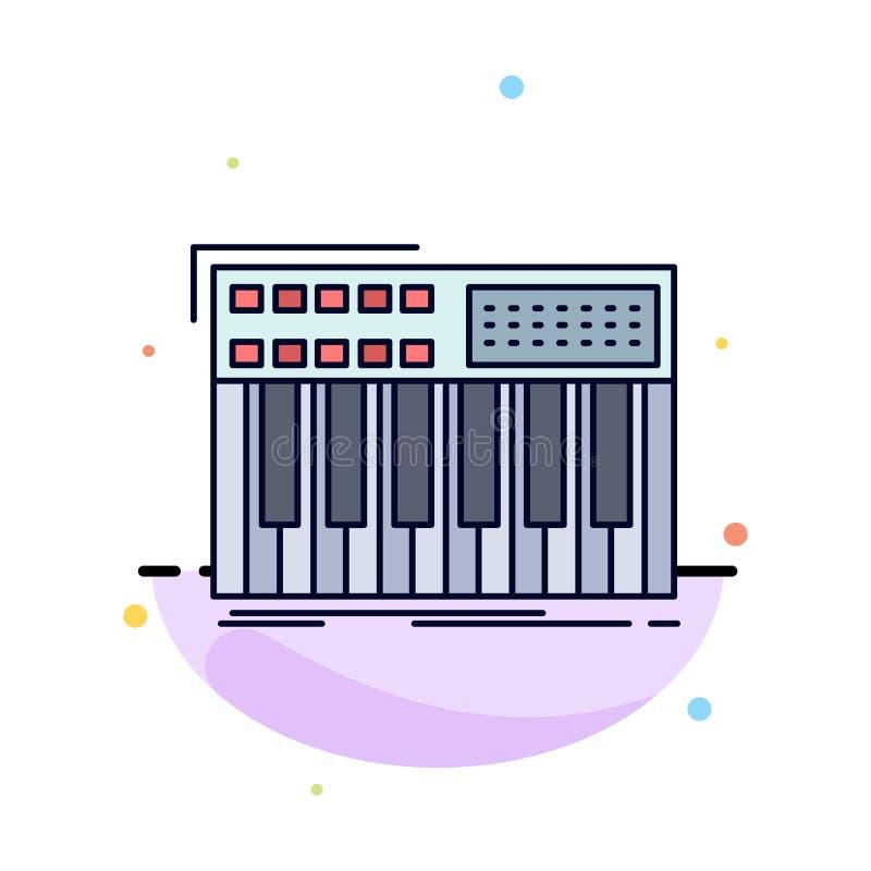 synth, toetsenbord, Midi, synthesiser, het Pictogramvector van de synthesizer Vlakke Kleur vector illustratie