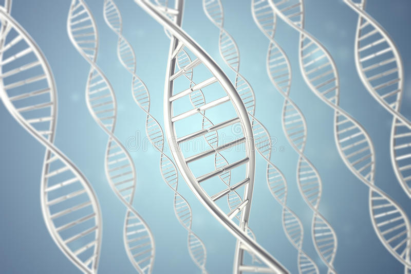 Synthetic, artificial DNA molecule, the concept of artificial intelligence. 3d rendering stock photography