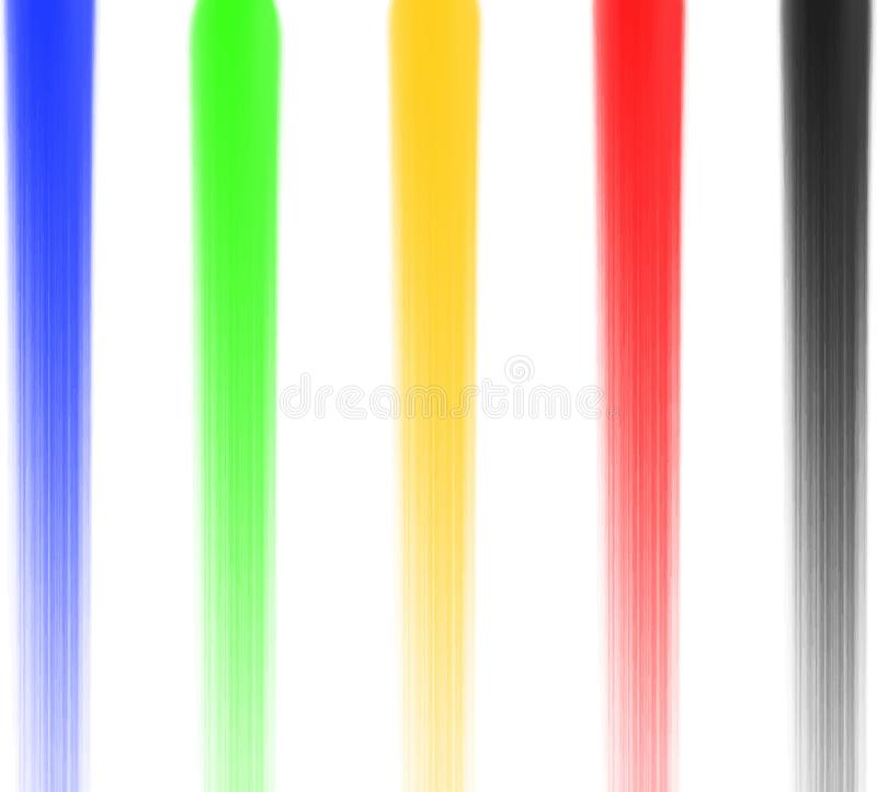 Synthetic Bristle Round Brushes 5 colors blue green yellow red black. watercolor paint texture Vector EPS. royalty free stock photography