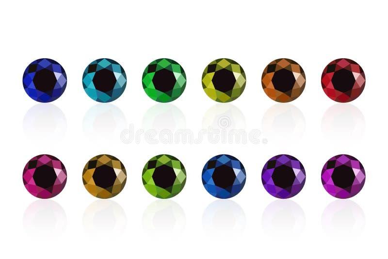 Synthetic diamond set stock illustration