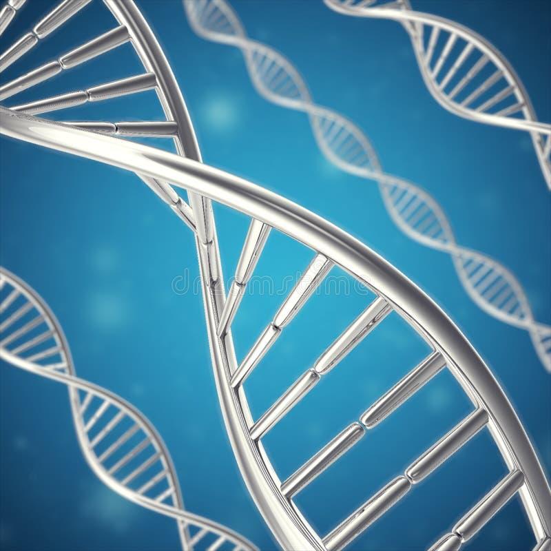 Synthetische, kunstmatige DNA-molecule, het concept kunstmatige intelligentie het 3d teruggeven stock foto's