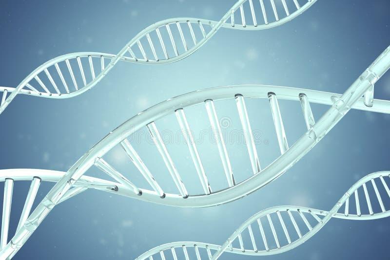 Synthetische, kunstmatige DNA-molecule, het concept kunstmatige intelligentie het 3d teruggeven royalty-vrije stock foto