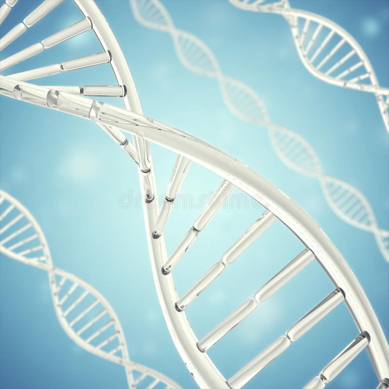 Synthetische, kunstmatige DNA-molecule, het concept kunstmatige intelligentie het 3d teruggeven stock afbeeldingen