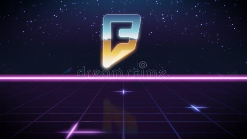 synthwave αναδρομικό εικονίδιο σχεδίου foursquare απεικόνιση αποθεμάτων