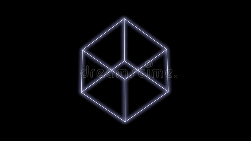 Synthwave cube on a Black Background 3d render stock photos