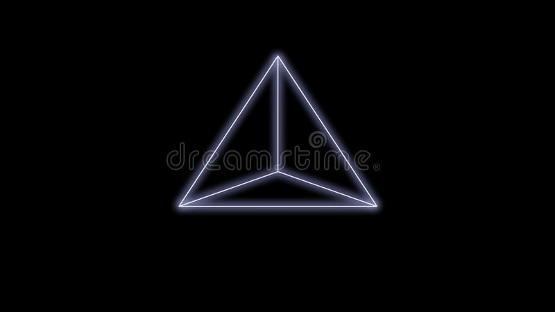 Synthwave pyramid on a Black Background 3d render royalty free stock photo