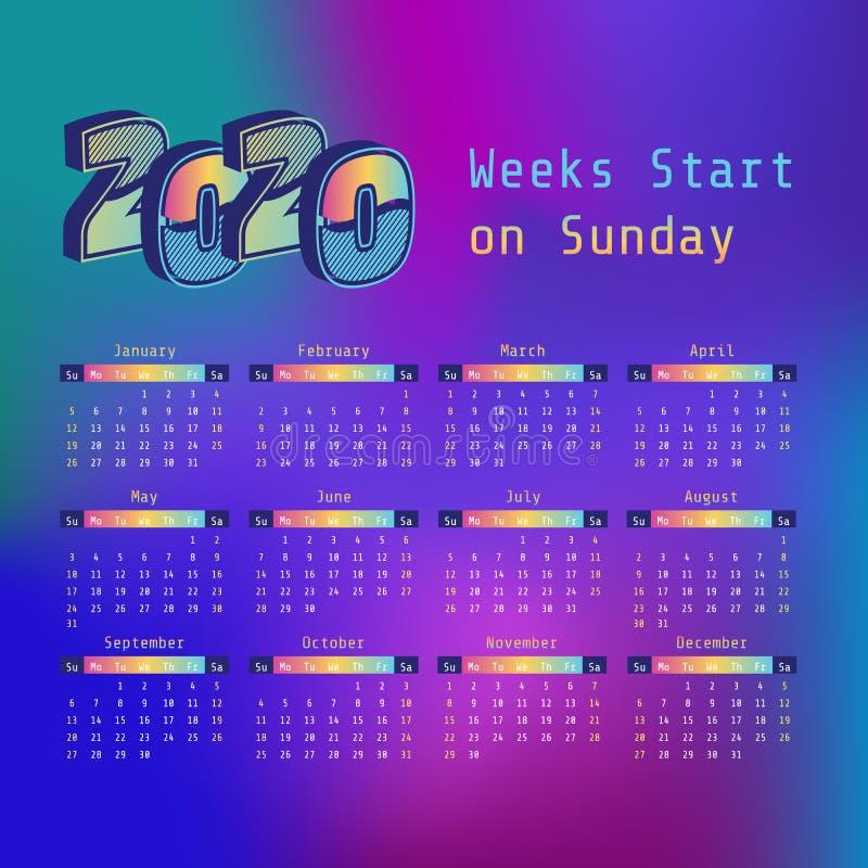 Synthwave 2020 ?r kalender Veckastart p? s?ndag royaltyfri illustrationer