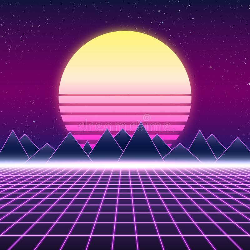 Synthwave retro design, berg och sol, illustration stock illustrationer