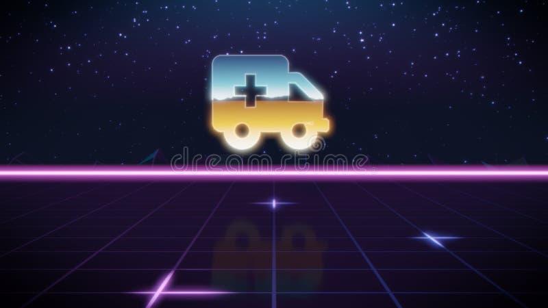 synthwave retro design icon of ambulance royalty free illustration