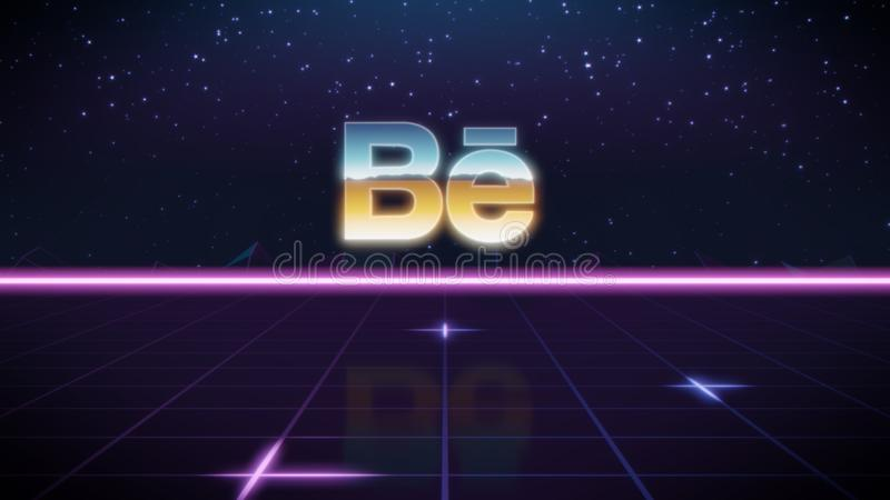 Synthwave retro design icon of behance. Chrome icon of behance on synth background stock illustration