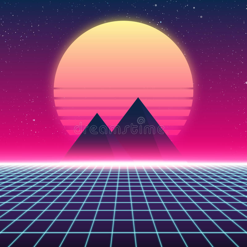 Synthwave retro design, Pyramids and sun, illustration royalty free illustration